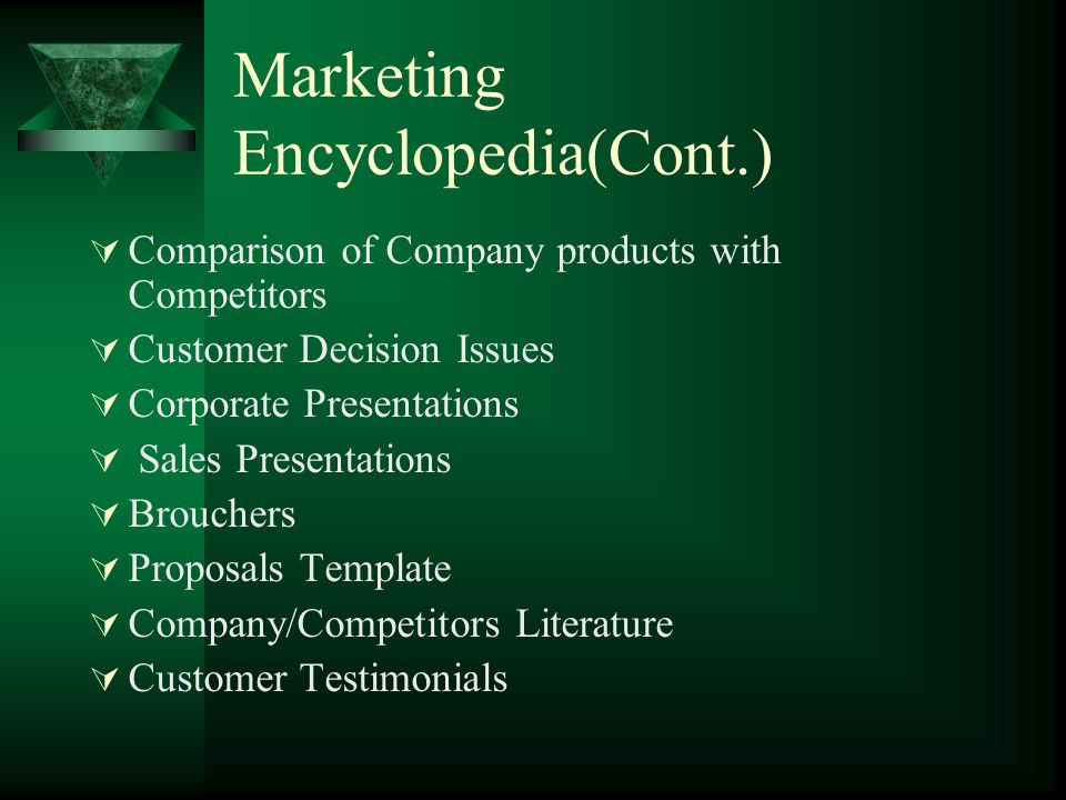 Marketing Encyclopedia(Cont.) Comparison of Company products with Competitors Customer Decision Issues Corporate Presentations Sales Presentations Brouchers Proposals Template Company/Competitors Literature Customer Testimonials