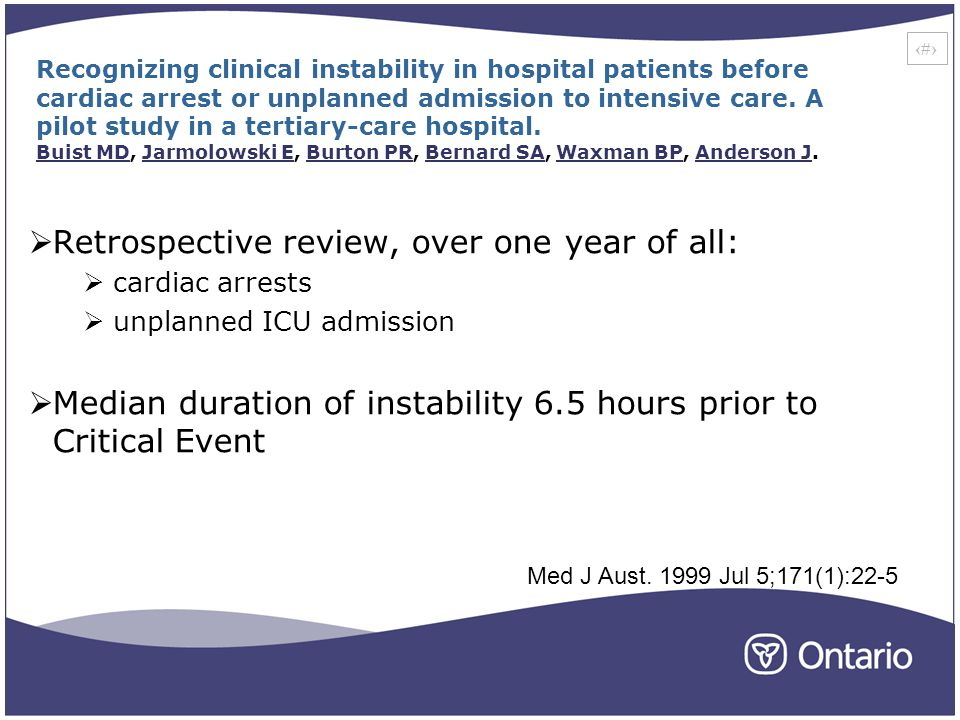 10 Recognizing clinical instability in hospital patients before cardiac arrest or unplanned admission to intensive care.