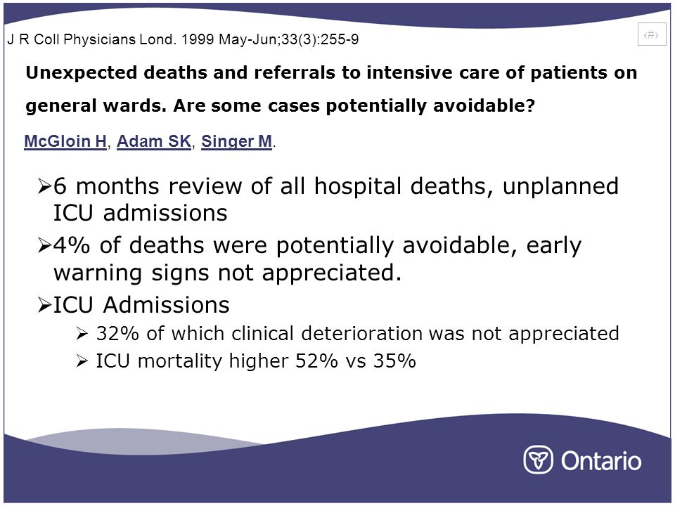 12 Unexpected deaths and referrals to intensive care of patients on general wards.