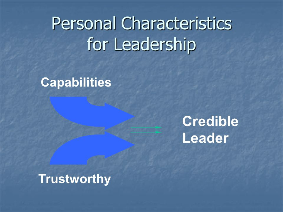Personal Characteristics for Leadership Capabilities Trustworthy Credible Leader
