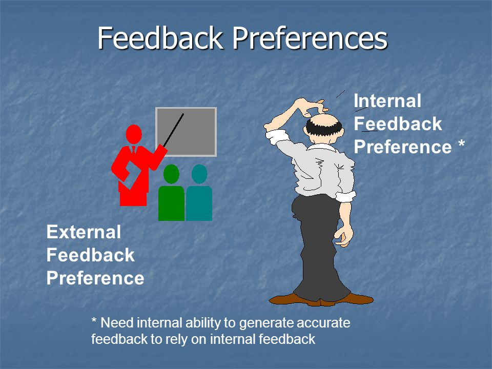 Feedback Preferences External Feedback Preference Internal Feedback Preference * * Need internal ability to generate accurate feedback to rely on internal feedback