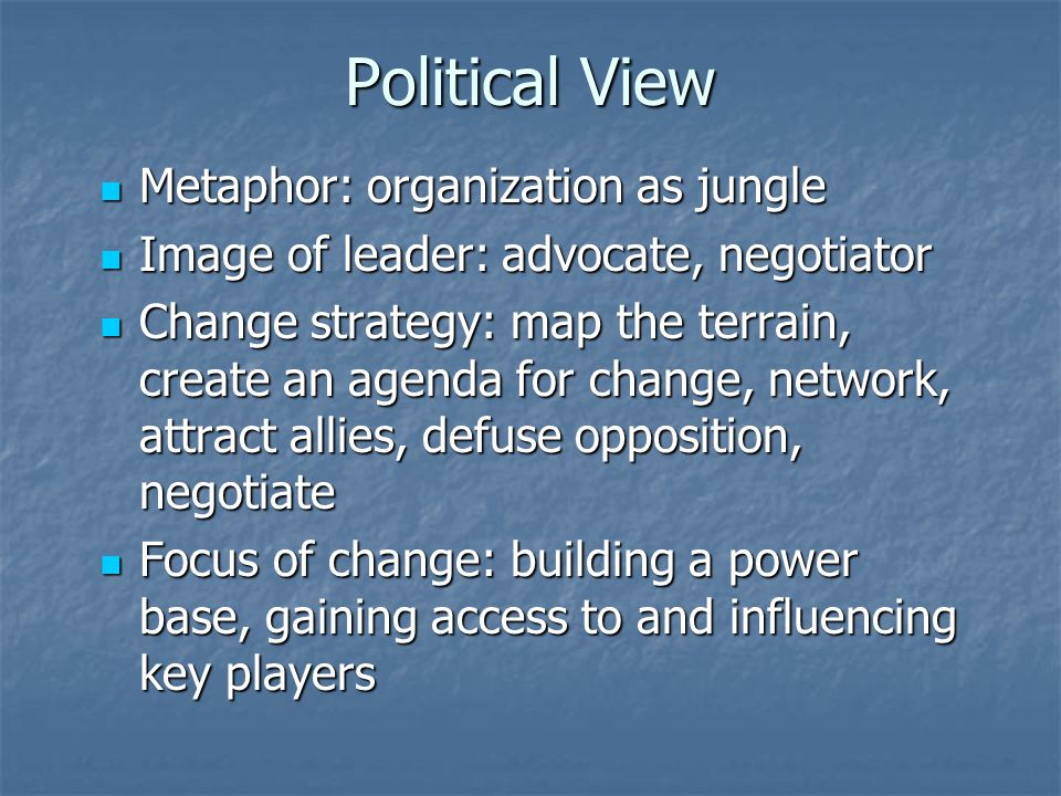 Political View Metaphor: organization as jungle Metaphor: organization as jungle Image of leader: advocate, negotiator Image of leader: advocate, negotiator Change strategy: map the terrain, create an agenda for change, network, attract allies, defuse opposition, negotiate Change strategy: map the terrain, create an agenda for change, network, attract allies, defuse opposition, negotiate Focus of change: building a power base, gaining access to and influencing key players Focus of change: building a power base, gaining access to and influencing key players