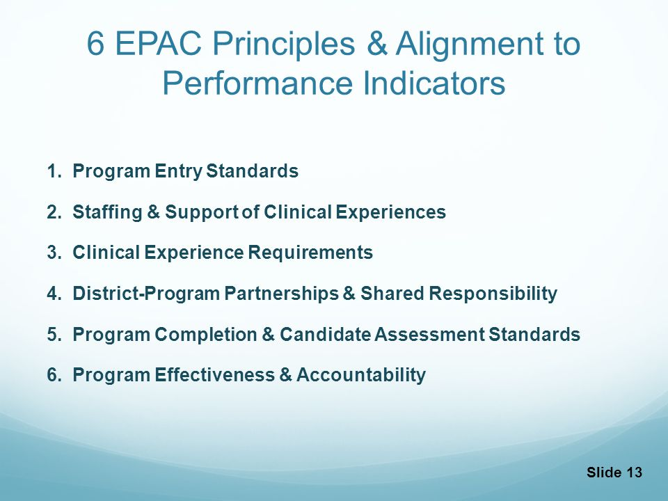 6 EPAC Principles & Alignment to Performance Indicators 1.Program Entry Standards 2.Staffing & Support of Clinical Experiences 3.Clinical Experience Requirements 4.District-Program Partnerships & Shared Responsibility 5.Program Completion & Candidate Assessment Standards 6.Program Effectiveness & Accountability Slide 13