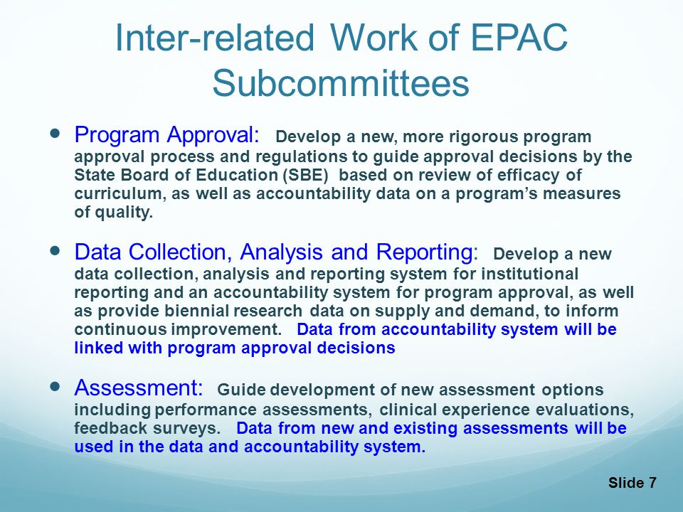 Slide 8 Data Subcommittee Outcomes EPAC Principles 1.