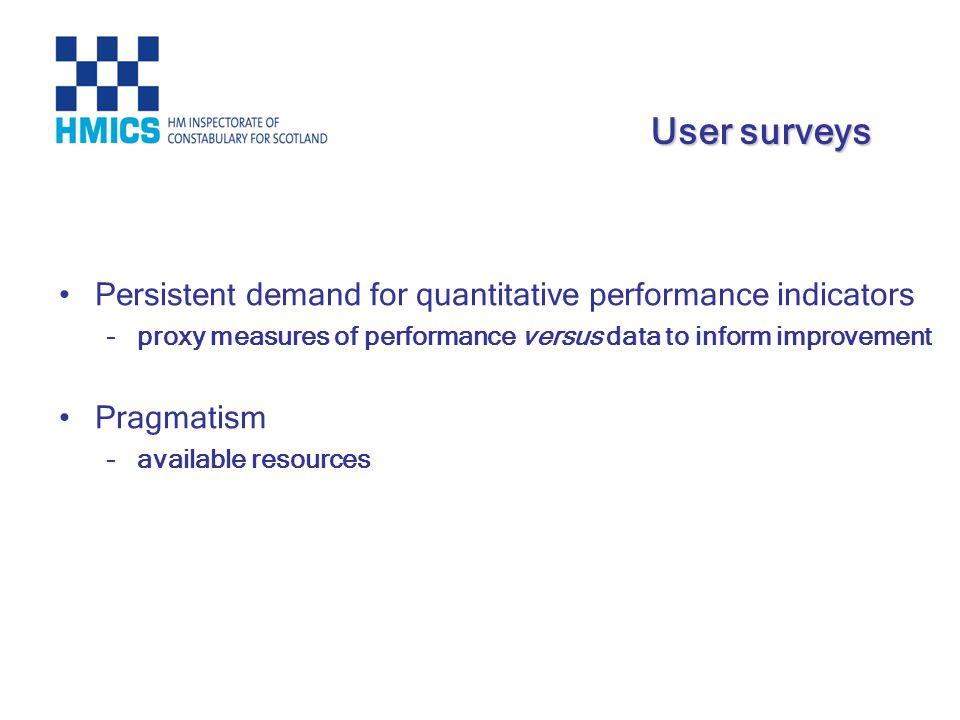 Persistent demand for quantitative performance indicators –proxy measures of performance versus data to inform improvement Pragmatism –available resou