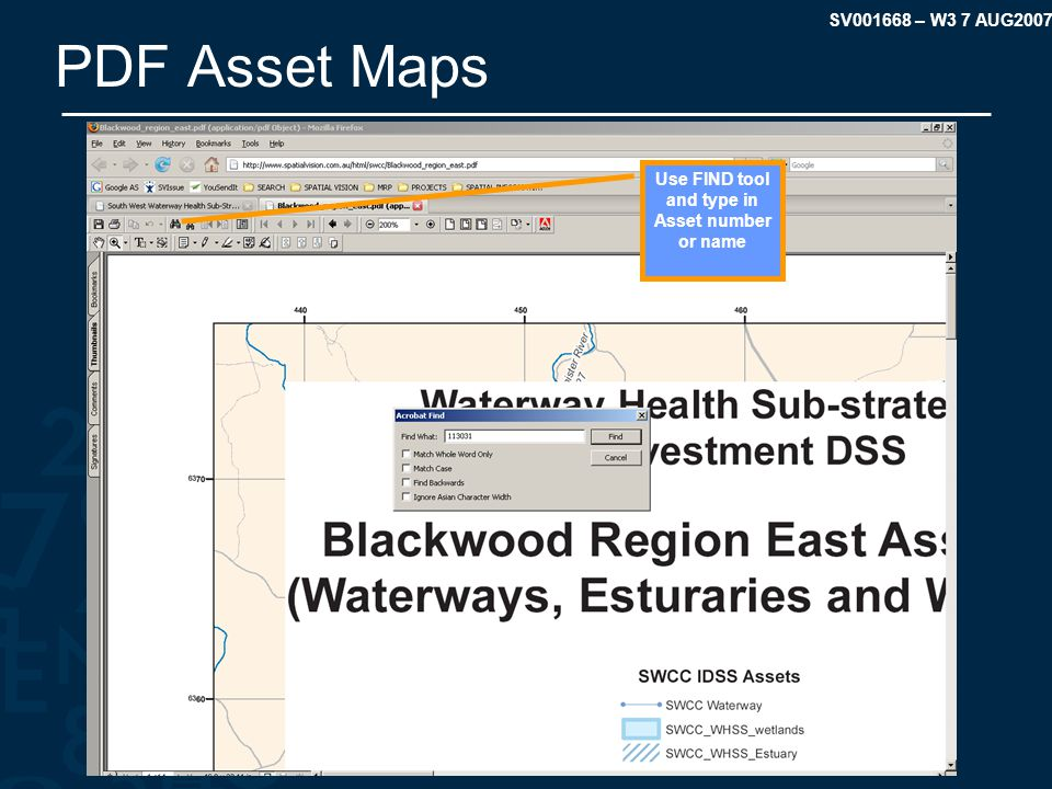 SV001668 – W3 7 AUG2007 PDF Asset Maps Use FIND tool and type in Asset number or name