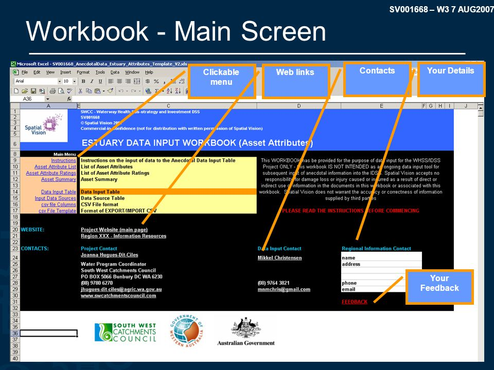 SV001668 – W3 7 AUG2007 Workbook - Main Screen Clickable menu Web links ContactsYour Details Your Feedback
