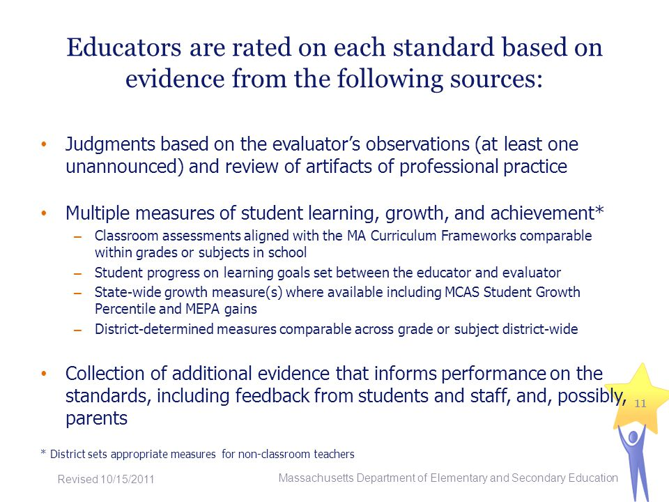 Educators are rated on each standard based on evidence from the following sources: Judgments based on the evaluators observations (at least one unannounced) and review of artifacts of professional practice Multiple measures of student learning, growth, and achievement* – Classroom assessments aligned with the MA Curriculum Frameworks comparable within grades or subjects in school – Student progress on learning goals set between the educator and evaluator – State-wide growth measure(s) where available including MCAS Student Growth Percentile and MEPA gains – District-determined measures comparable across grade or subject district-wide Collection of additional evidence that informs performance on the standards, including feedback from students and staff, and, possibly, parents * District sets appropriate measures for non-classroom teachers 11 Massachusetts Department of Elementary and Secondary Education Revised 10/15/2011