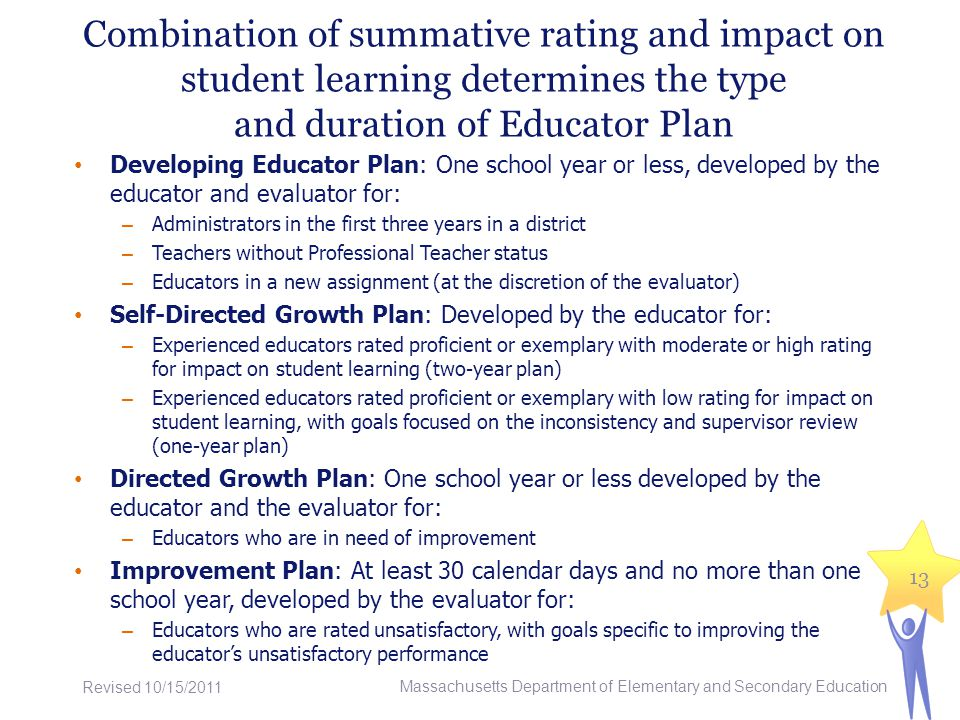 Combination of summative rating and impact on student learning determines the type and duration of Educator Plan Developing Educator Plan: One school year or less, developed by the educator and evaluator for: – Administrators in the first three years in a district – Teachers without Professional Teacher status – Educators in a new assignment (at the discretion of the evaluator) Self-Directed Growth Plan: Developed by the educator for: – Experienced educators rated proficient or exemplary with moderate or high rating for impact on student learning (two-year plan) – Experienced educators rated proficient or exemplary with low rating for impact on student learning, with goals focused on the inconsistency and supervisor review (one-year plan) Directed Growth Plan: One school year or less developed by the educator and the evaluator for: – Educators who are in need of improvement Improvement Plan: At least 30 calendar days and no more than one school year, developed by the evaluator for: – Educators who are rated unsatisfactory, with goals specific to improving the educators unsatisfactory performance 13 Massachusetts Department of Elementary and Secondary Education Revised 10/15/2011