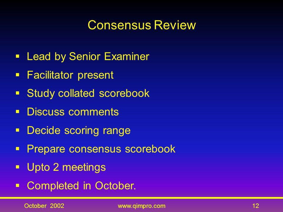 October 2002www.qimpro.com12 Consensus Review Lead by Senior Examiner Facilitator present Study collated scorebook Discuss comments Decide scoring ran