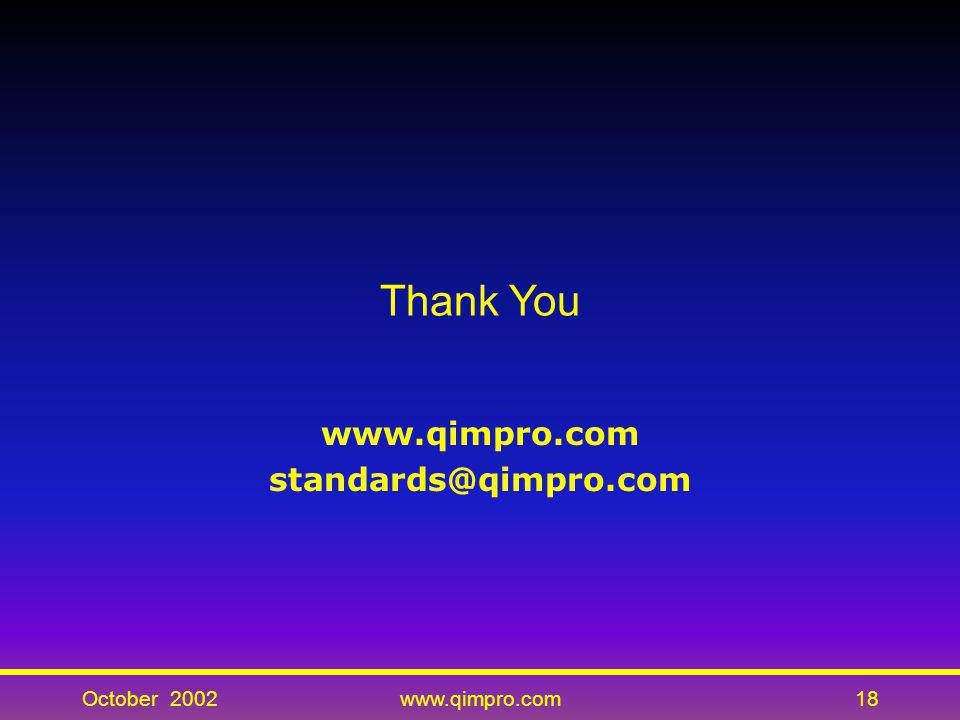October 2002www.qimpro.com18 Thank You www.qimpro.com standards@qimpro.com