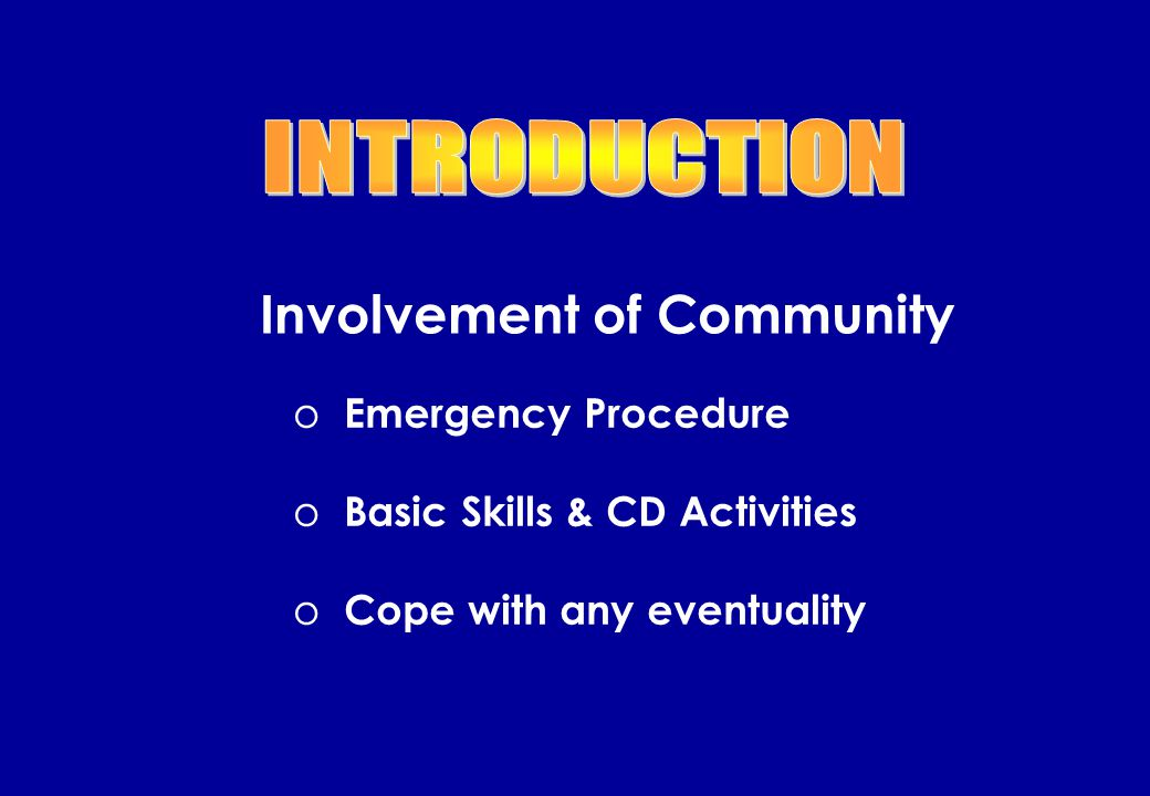Introduction CD Volunteer Scheme CDEC NFPC Conclusion