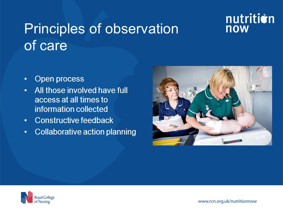 Principles of observation of care Open process All those involved have full access at all times to information collected Constructive feedback Collaborative action planning