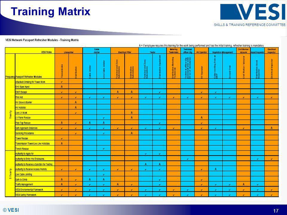 17 © VESI SKILLS & TRAINING REFERENCE COMMITTEE Training Matrix
