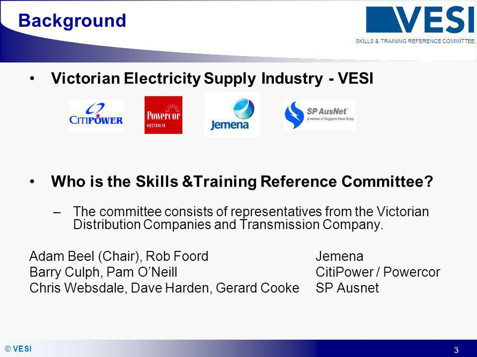 3 © VESI SKILLS & TRAINING REFERENCE COMMITTEE Background Victorian Electricity Supply Industry - VESI Who is the Skills &Training Reference Committee