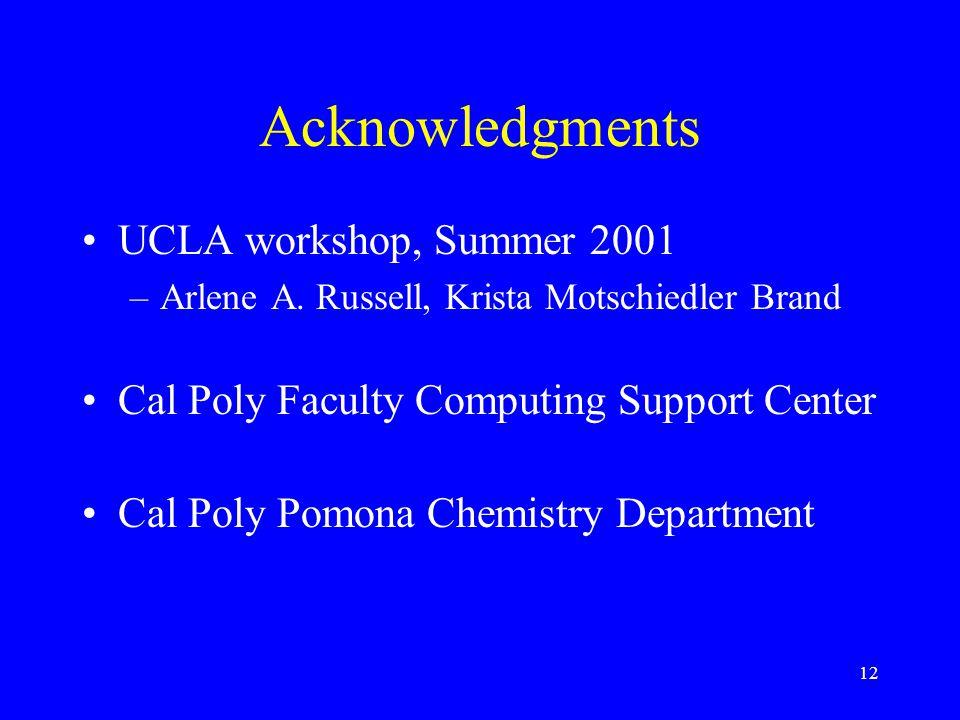 12 Acknowledgments UCLA workshop, Summer 2001 –Arlene A.
