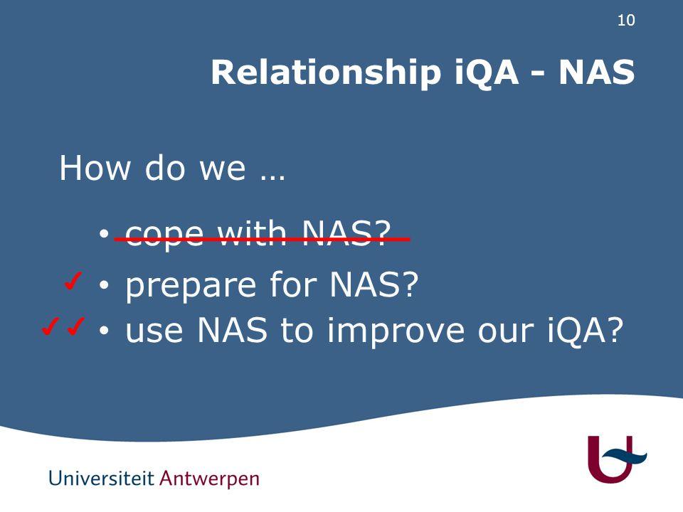 10 Relationship iQA - NAS How do we … cope with NAS? prepare for NAS? use NAS to improve our iQA?