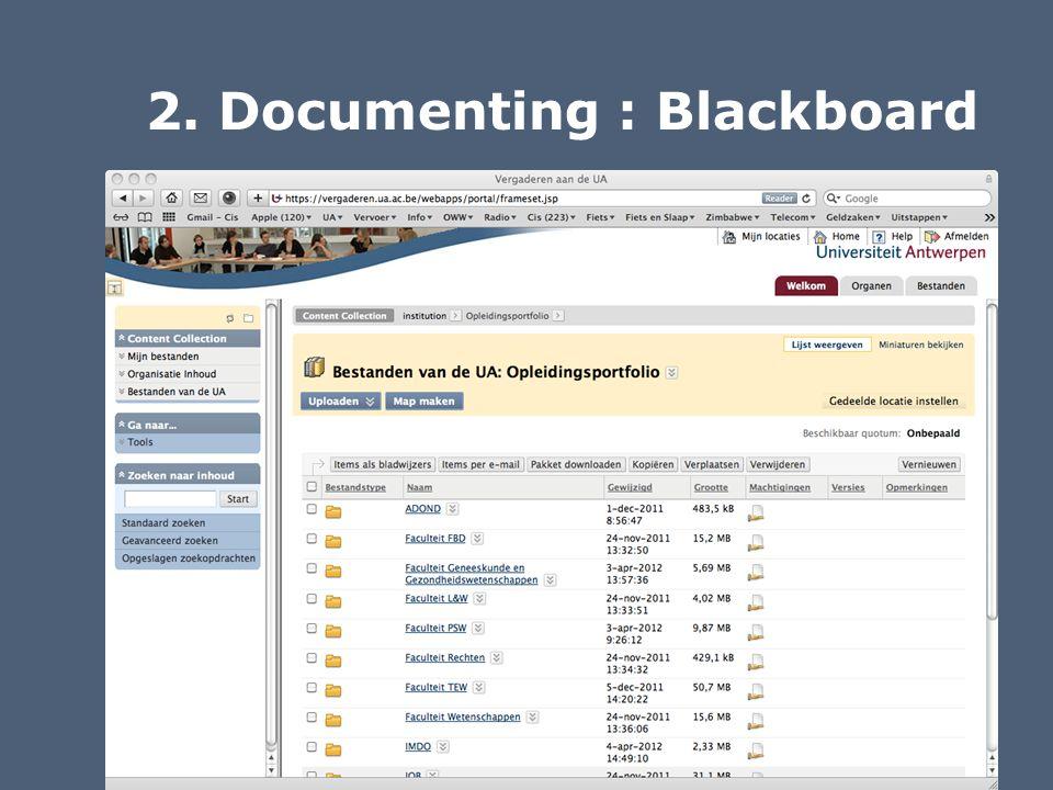 2. Documenting : Blackboard