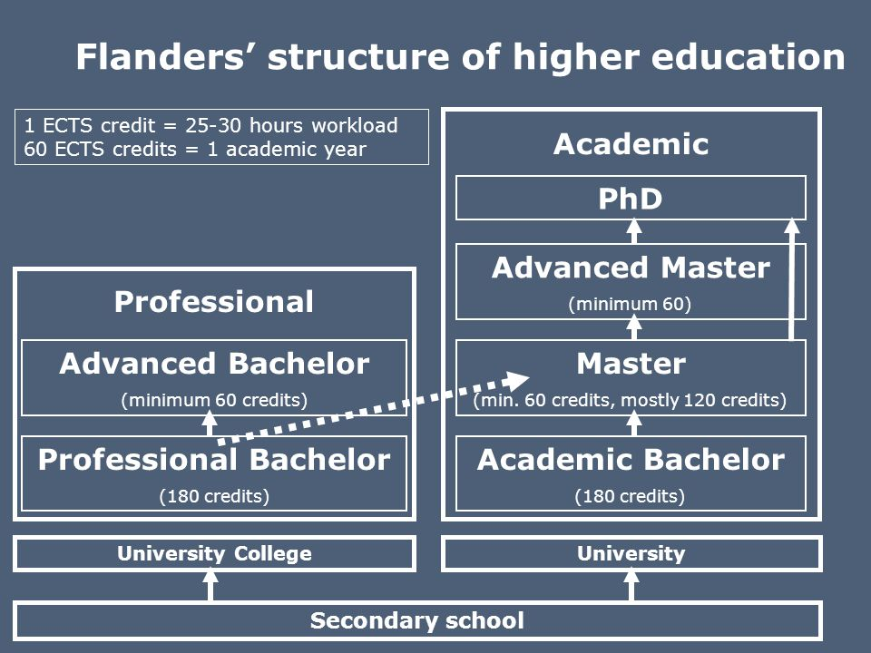 University Professional Academic Flanders structure of higher education 1 ECTS credit = 25-30 hours workload 60 ECTS credits = 1 academic year Seconda