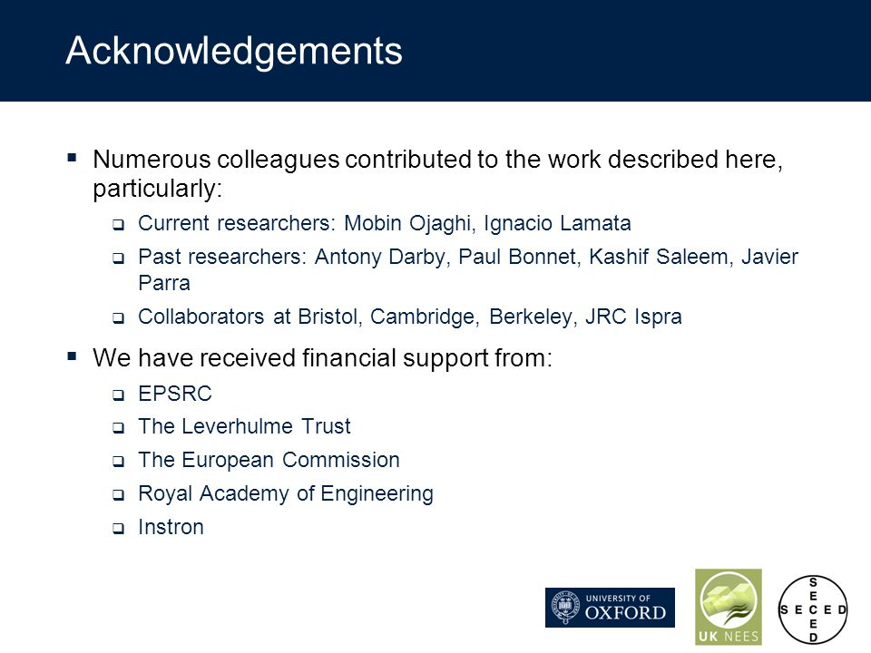 Acknowledgements Numerous colleagues contributed to the work described here, particularly: Current researchers: Mobin Ojaghi, Ignacio Lamata Past rese