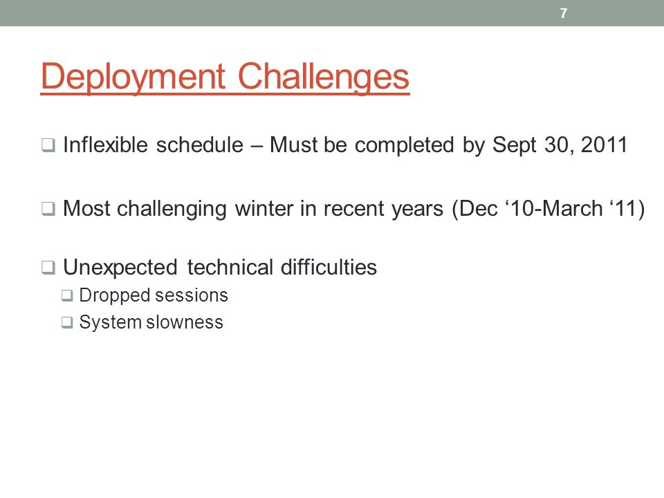 Deployment Challenges Inflexible schedule – Must be completed by Sept 30, 2011 Most challenging winter in recent years (Dec 10-March 11) Unexpected te