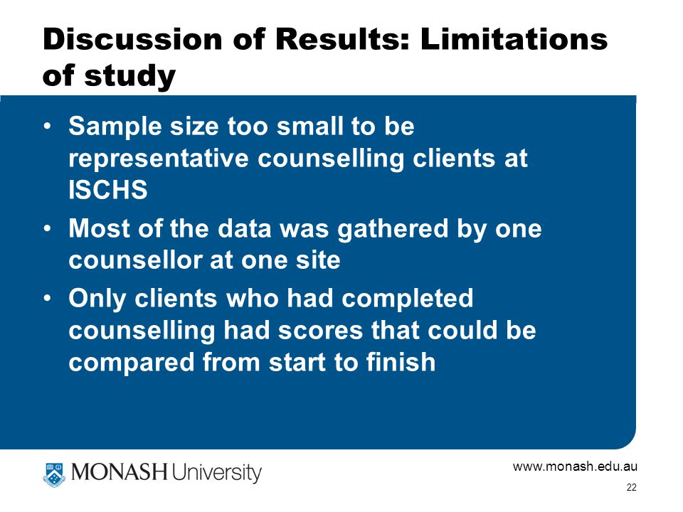 www.monash.edu.au 22 Discussion of Results: Limitations of study Sample size too small to be representative counselling clients at ISCHS Most of the d