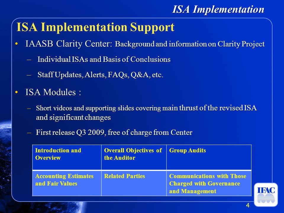 ISA Implementation IAASB Clarity Center: Background and information on Clarity ProjectIAASB Clarity Center: Background and information on Clarity Project –Individual ISAs and Basis of Conclusions –Staff Updates, Alerts, FAQs, Q&A, etc.