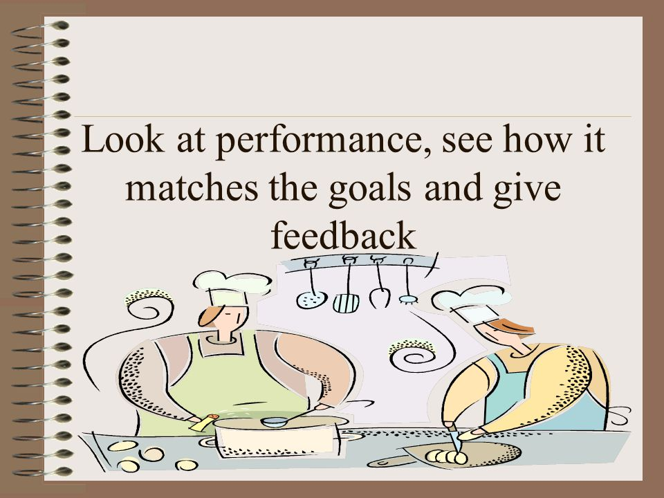 Look at performance, see how it matches the goals and give feedback