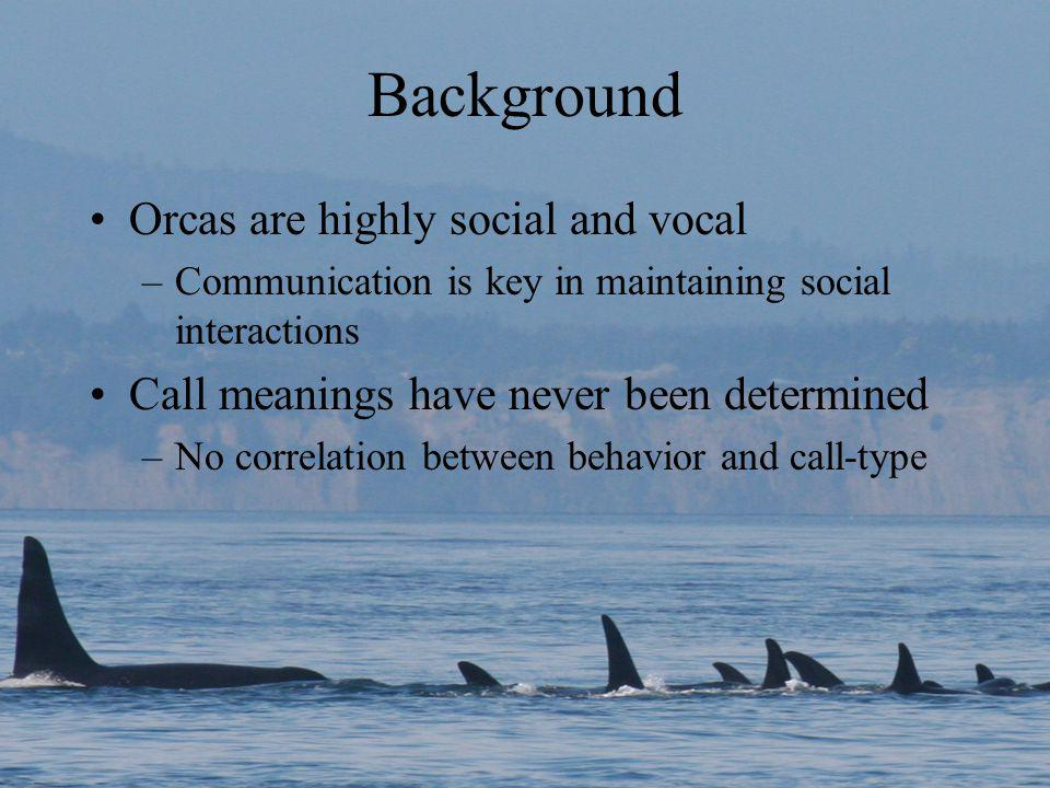 Background Orcas are highly social and vocal –Communication is key in maintaining social interactions Call meanings have never been determined –No correlation between behavior and call-type