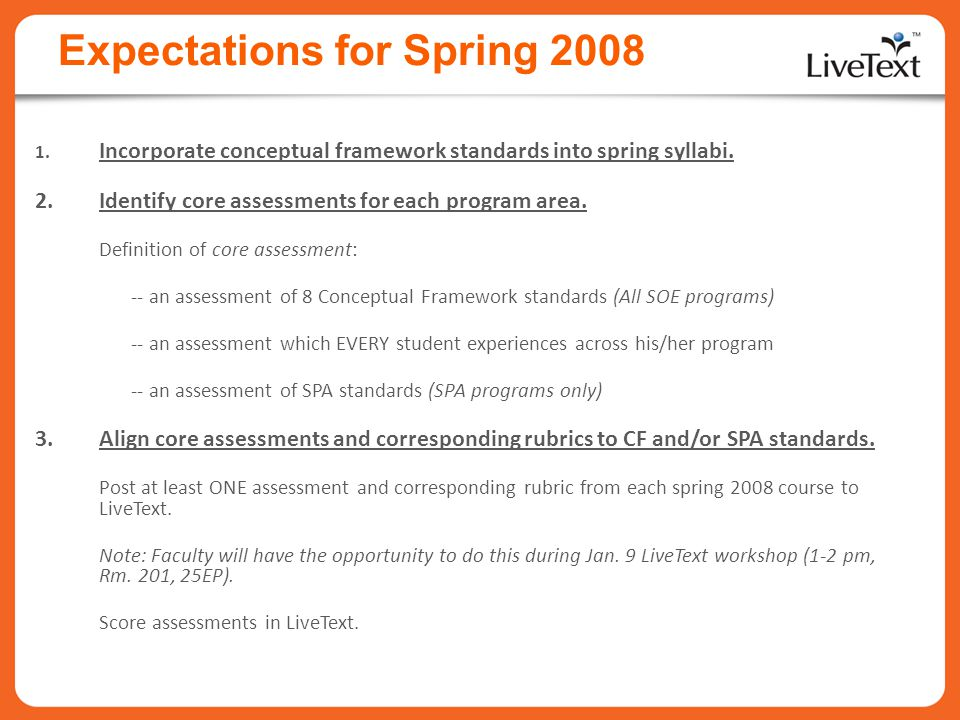 Expectations for Spring 2008 1.Incorporate conceptual framework standards into spring syllabi.
