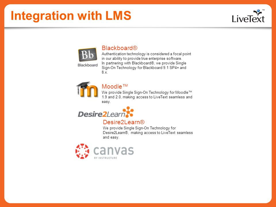 Integration with LMS Moodle We provide Single Sign-On Technology for Moodle 1.9 and 2.0, making access to LiveText seamless and easy. Blackboard® Auth