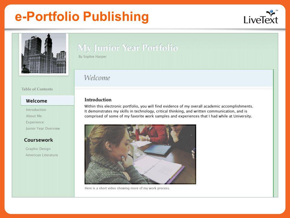 e-Portfolio Publishing
