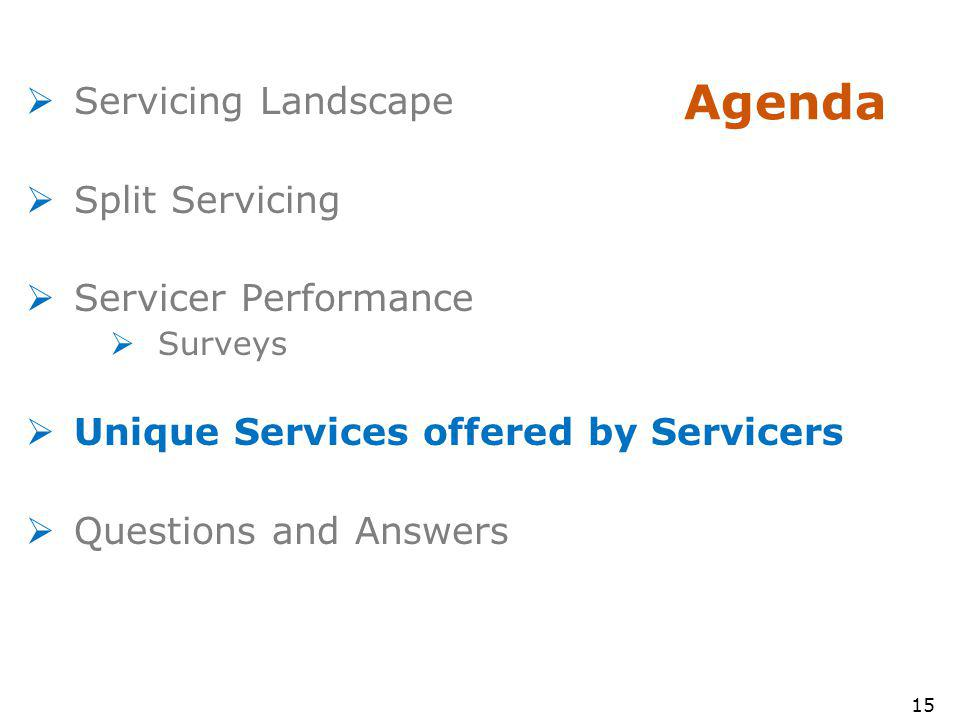 15 Agenda Servicing Landscape Split Servicing Servicer Performance Surveys Unique Services offered by Servicers Questions and Answers