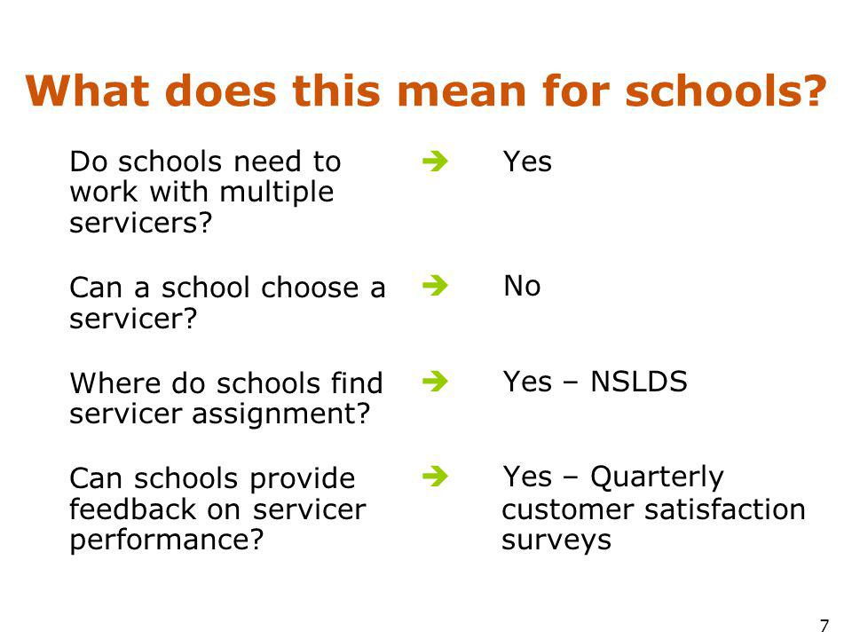 7 What does this mean for schools. Do schools need to work with multiple servicers.