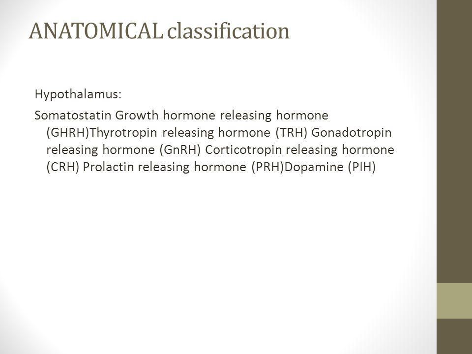 ANATOMICAL classification Hypothalamus: Somatostatin Growth hormone releasing hormone (GHRH)Thyrotropin releasing hormone (TRH) Gonadotropin releasing