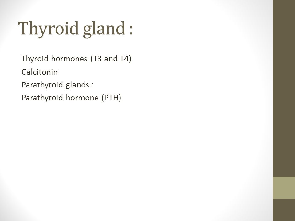 Thyroid gland : Thyroid hormones (T3 and T4) Calcitonin Parathyroid glands : Parathyroid hormone (PTH)