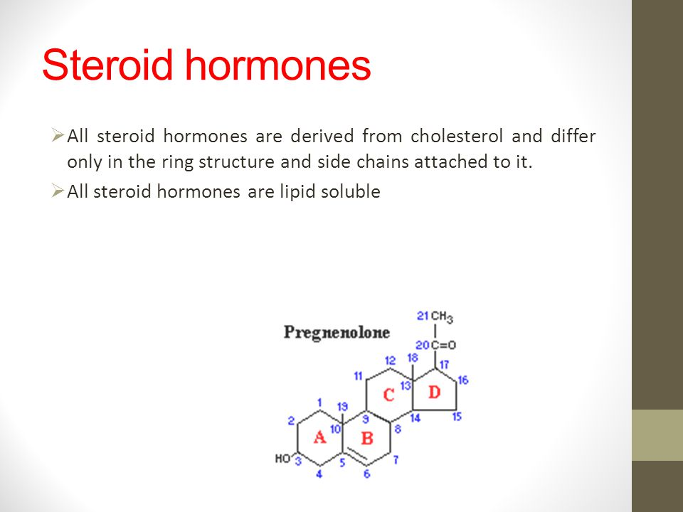 Steroid hormones All steroid hormones are derived from cholesterol and differ only in the ring structure and side chains attached to it. All steroid h