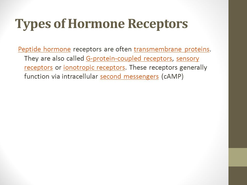 Types of Hormone Receptors Peptide hormonePeptide hormone receptors are often transmembrane proteins. They are also called G-protein-coupled receptors