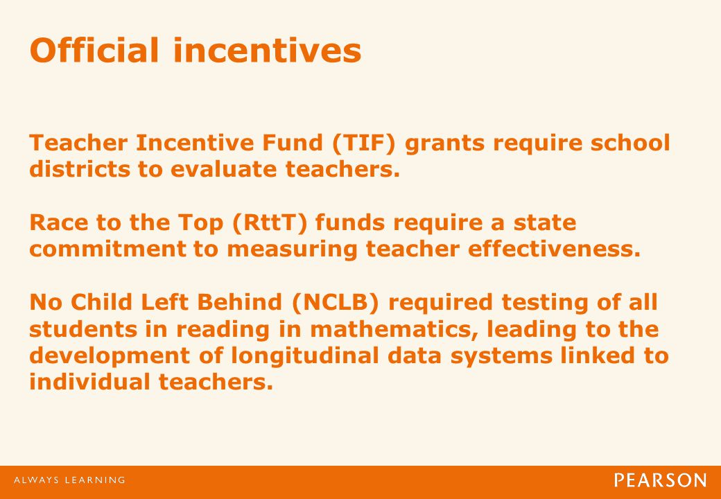 Official incentives Teacher Incentive Fund (TIF) grants require school districts to evaluate teachers.