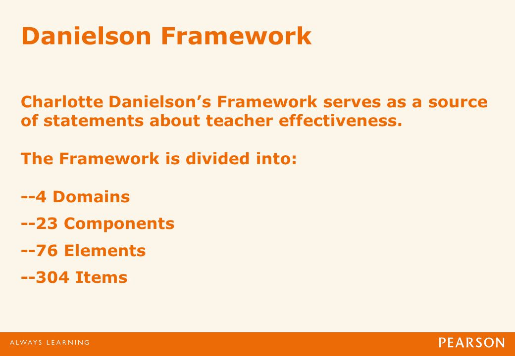Danielson Framework Charlotte Danielsons Framework serves as a source of statements about teacher effectiveness.
