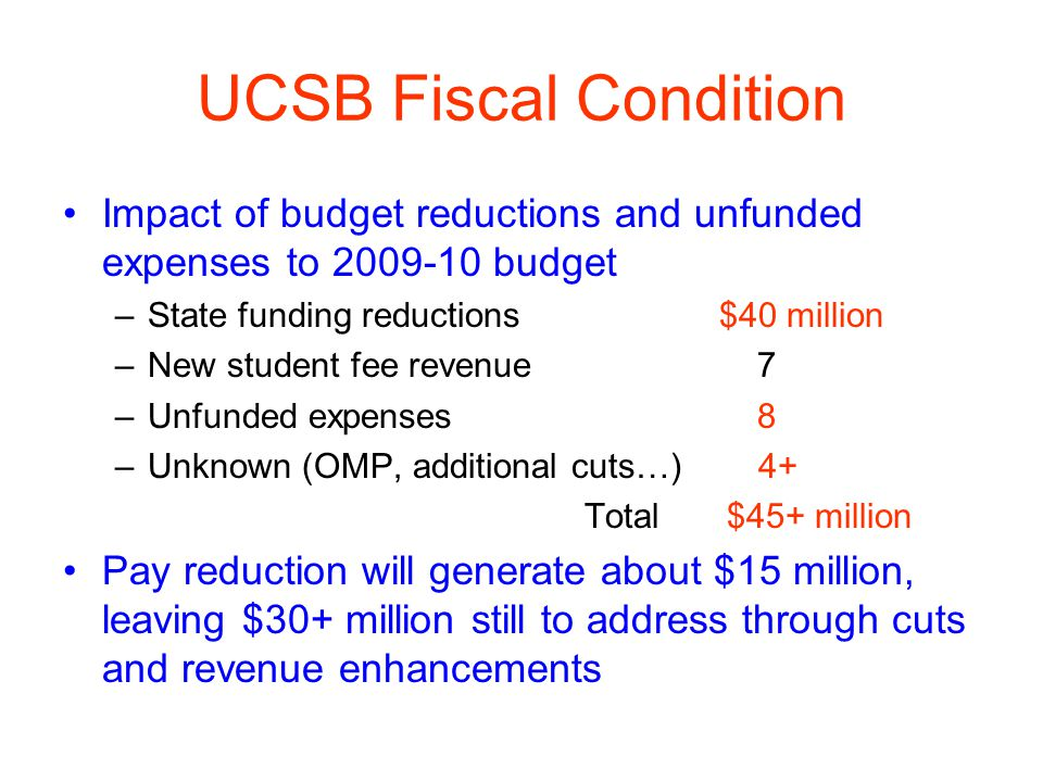 UCSB Fiscal Condition Impact of budget reductions and unfunded expenses to 2009-10 budget –State funding reductions $40 million –New student fee revenue 7 –Unfunded expenses 8 –Unknown (OMP, additional cuts…) 4+ Total $45+ million Pay reduction will generate about $15 million, leaving $30+ million still to address through cuts and revenue enhancements