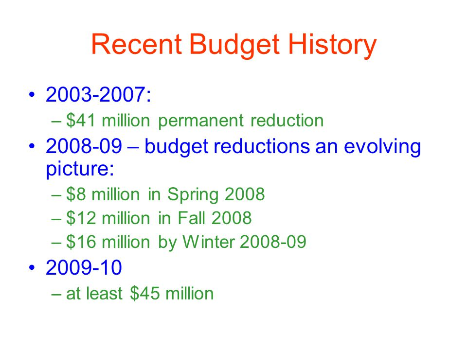 Recent Budget History 2003-2007: –$41 million permanent reduction 2008-09 – budget reductions an evolving picture: –$8 million in Spring 2008 –$12 million in Fall 2008 –$16 million by Winter 2008-09 2009-10 –at least $45 million