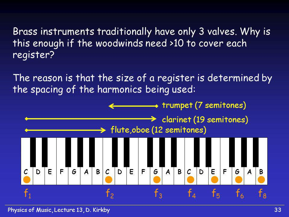 Physics of Music, Lecture 13, D. Kirkby33 Brass instruments traditionally have only 3 valves.
