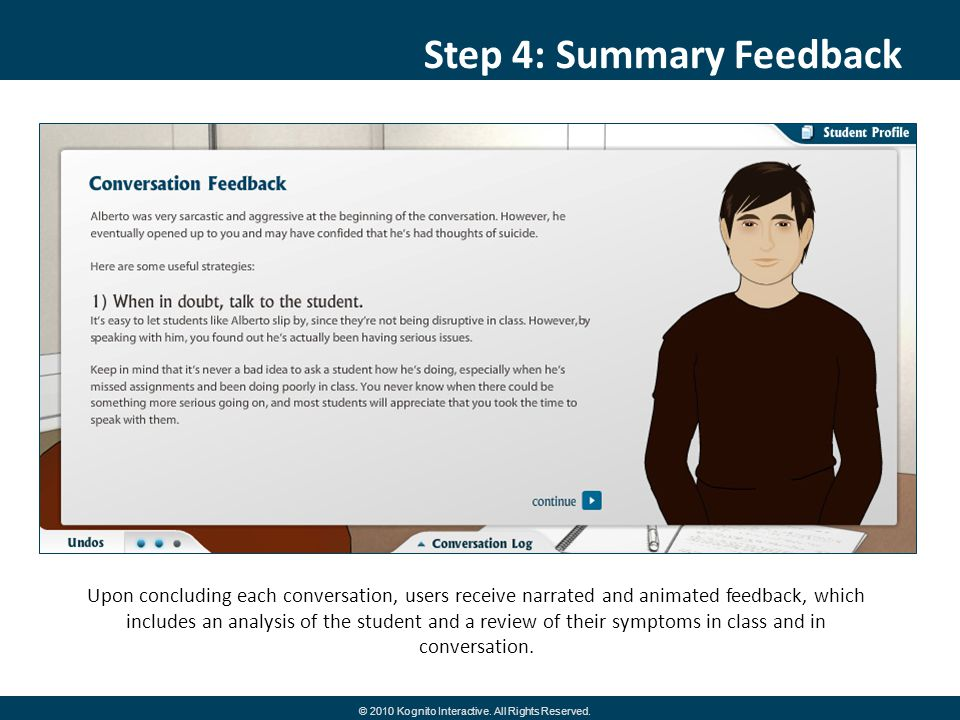 Step 4: Summary Feedback Upon concluding each conversation, users receive narrated and animated feedback, which includes an analysis of the student and a review of their symptoms in class and in conversation.