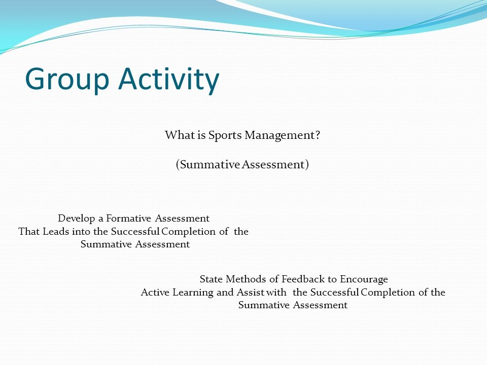Group Activity What is Sports Management.