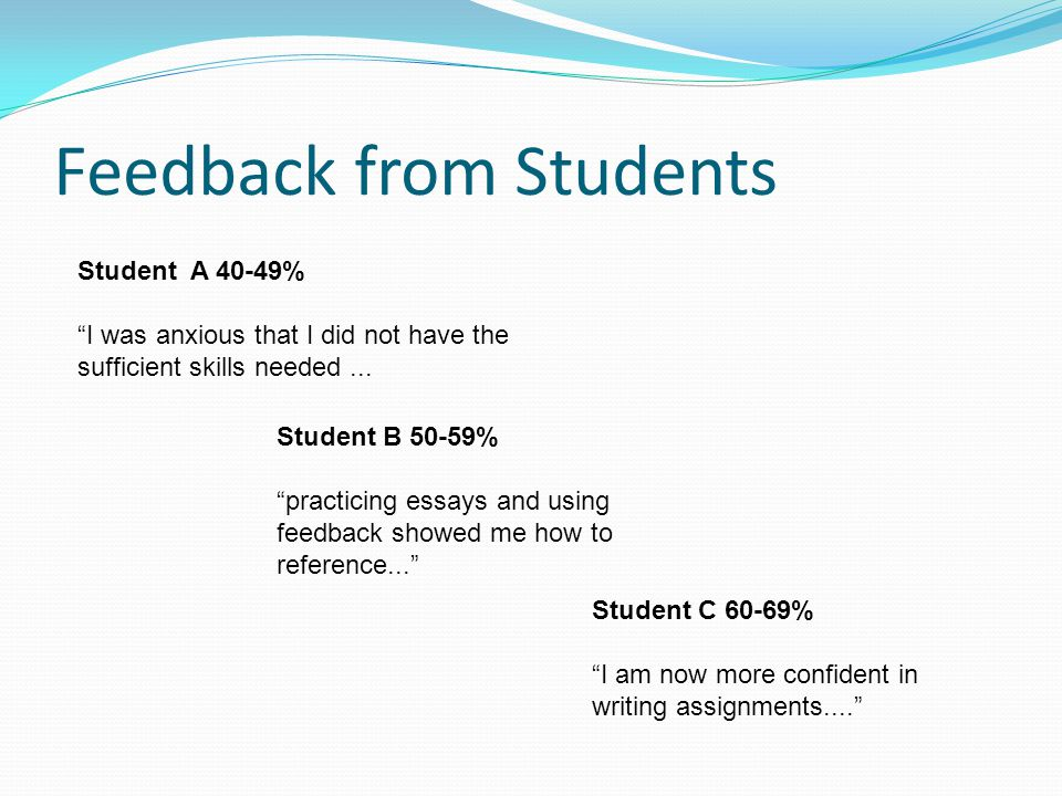 Feedback from Students Student A 40-49% I was anxious that I did not have the sufficient skills needed...