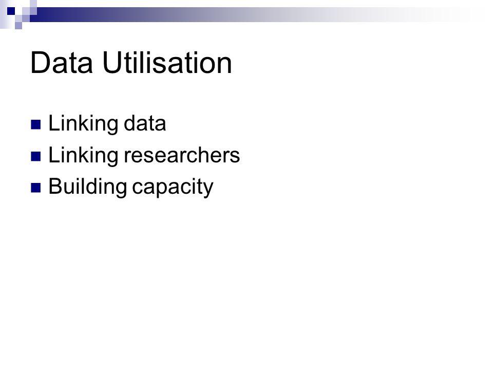 Data Utilisation Linking data Linking researchers Building capacity