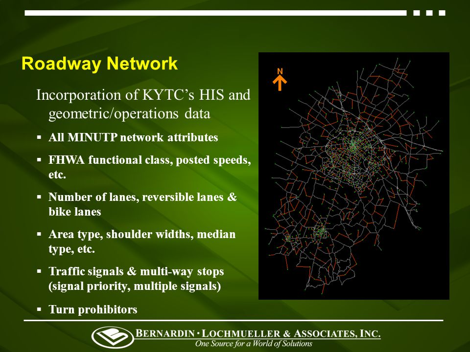 Roadway Network Incorporation of KYTCs HIS and geometric/operations data All MINUTP network attributes FHWA functional class, posted speeds, etc.