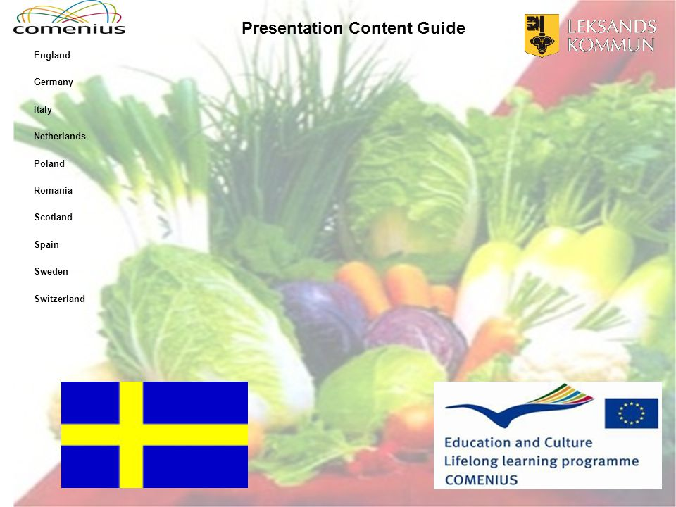 Presentation Content Guide England Germany Italy Netherlands Poland Romania Scotland Spain Sweden Switzerland