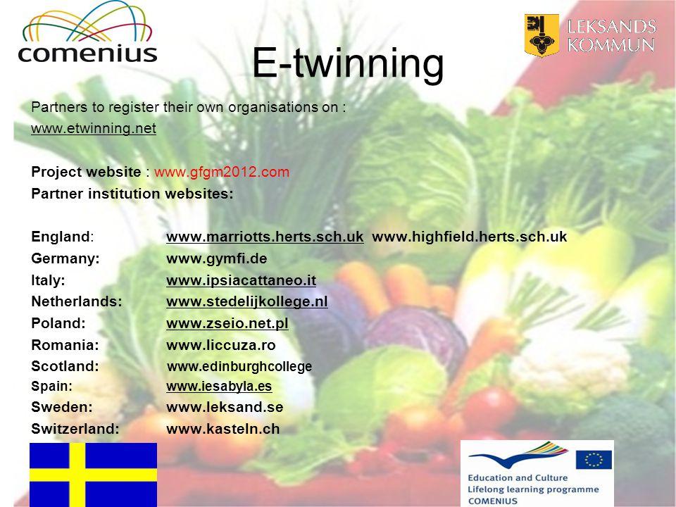 E-twinning Partners to register their own organisations on : www.etwinning.net Project website : www.gfgm2012.com Partner institution websites: Englan